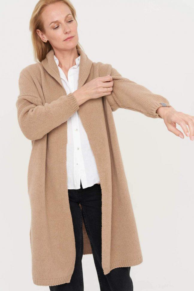 merino vilnos moteriškas kardiganas su kišenėmis