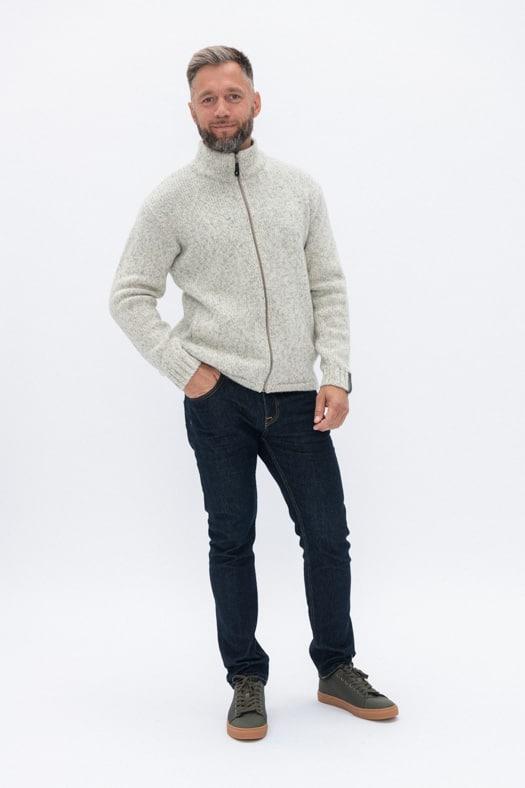 Vilnos megztinis su užtrauktuku/ baltas