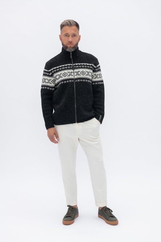 Užtraukiamas megztinis su autentišku norvegišku ornamentu/juodas