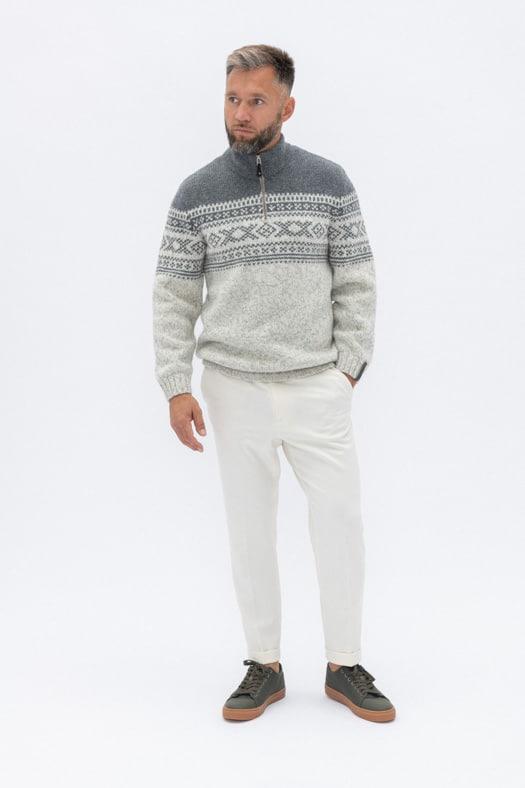 Užtraukiamas megztinis su autentišku norvegišku ornamentu/baltas