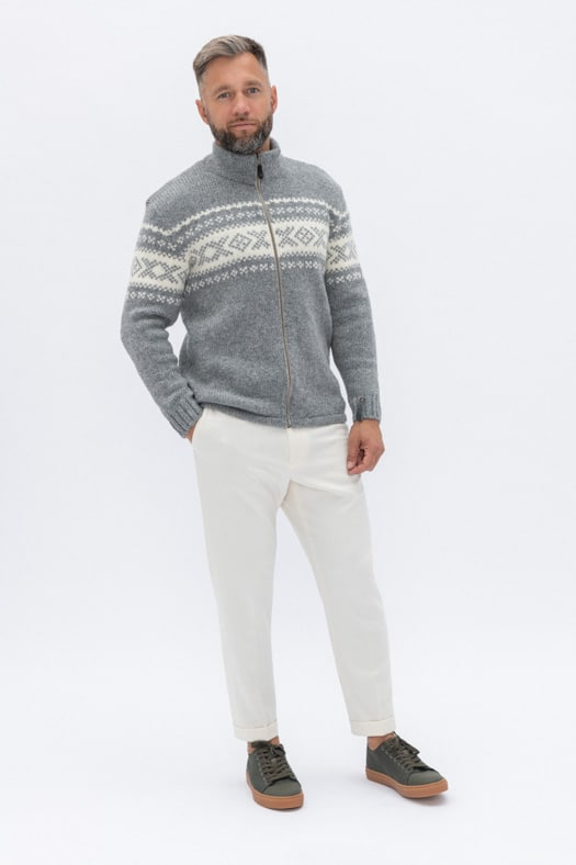 Užtraukiamas megztinis su autentišku norvegišku ornamentu/pilkas
