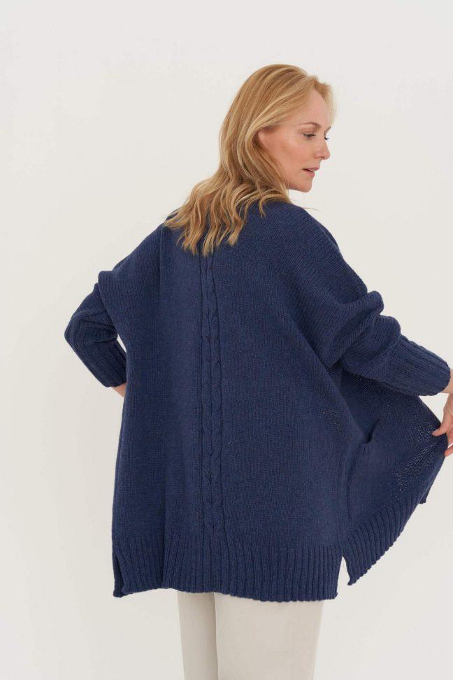 mėlynas merino vilnos megztinis