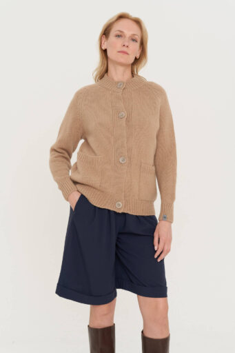 sustainable buttoned hand knitted sweater