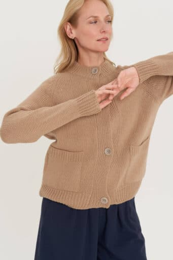 natural wool buttoned hand knitted sweater