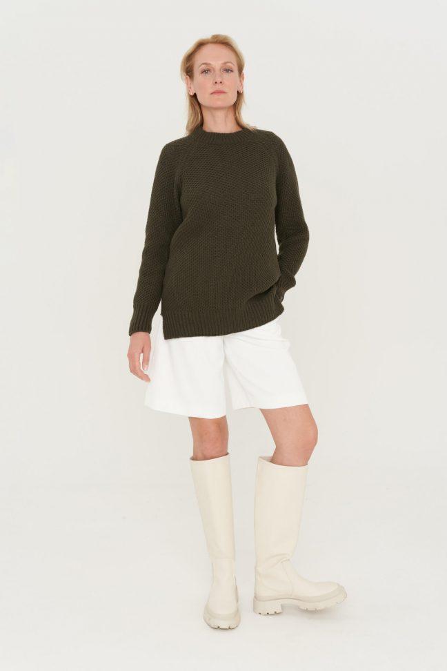 minimalistinis merino ir kašmyro vilnos megztinis