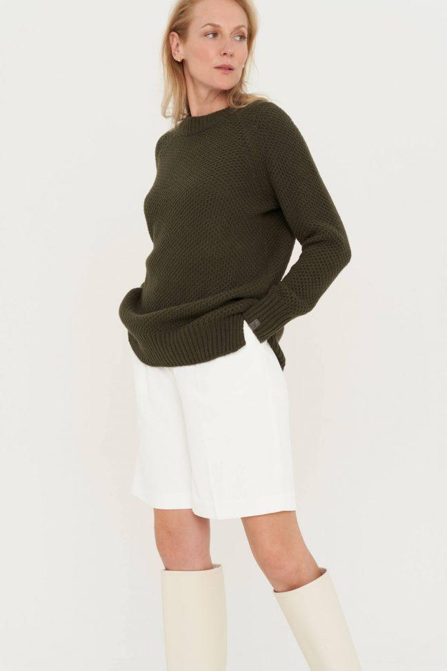chaki minimalistinis merino ir kašmyro vilnos megztinis